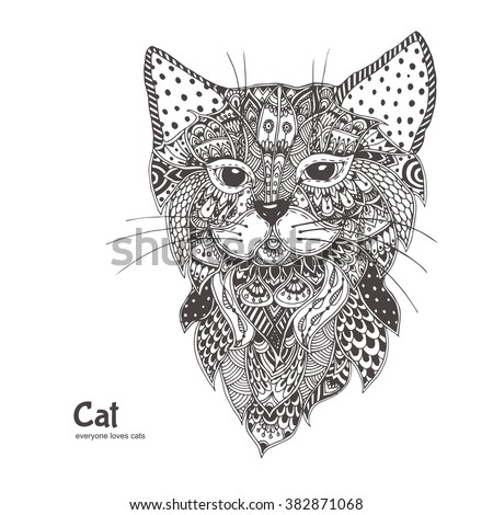 cat hand drawn sundcat with