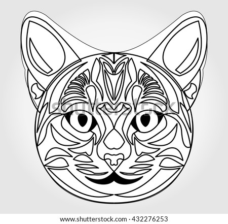 cat head drawing symbol of sun