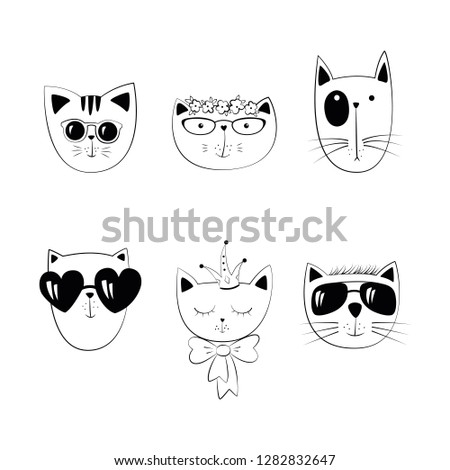 Stock Photo Cat head set.  Cute cartoon character. White background. Isolated. Vector illustration