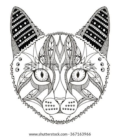cat head zentangle stylized