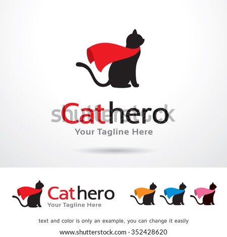 Cat Hero Logo Template Design Vector