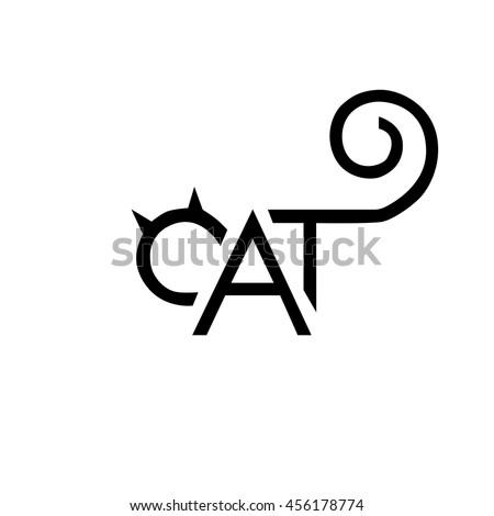 cat icon lettering emblem black