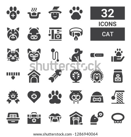 cat icon set. Collection of 32 filled cat icons included Collar, Cat, Dog house, Vampire, Veterinarian, Litter box, Scratching, Dog food, Saber toothed tiger, Paw, Veterinary