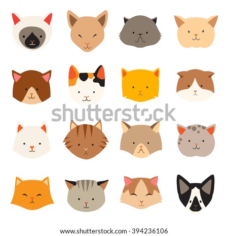 cat icons head  breed cats