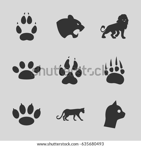 Cat icons set. set of 9 cat filled icons such as animal paw, panther, lion, paw