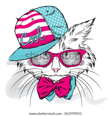 cat in a cap and glasses