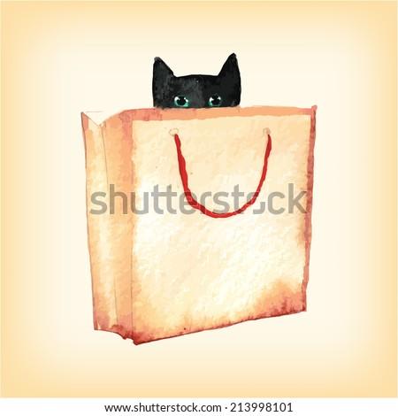 cat in box  watercolor vector