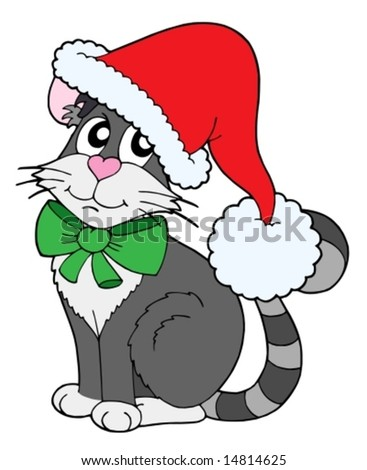 cat in christams cap   vector