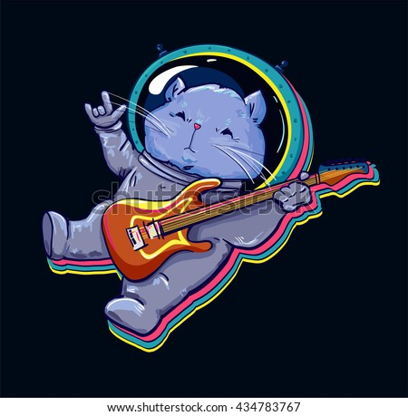 cat in space astronaut listen