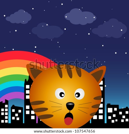 Cat in the city at night with rainbow