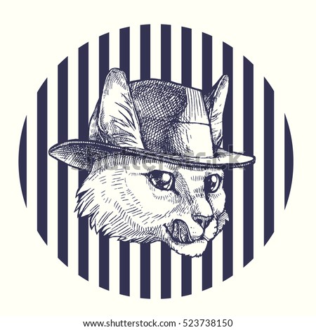 cat in the hat vector hand