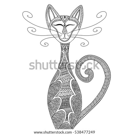 cat in zentangle style anti