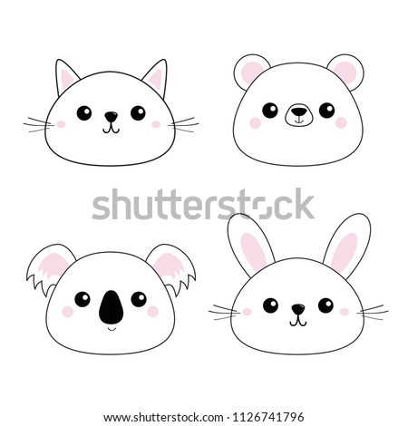Cat kitten bear, rabbit, hare, grizzly, koala head face set. Doodle linear sketch. Pink cheeks. Cute cartoon character. Pet animal collection. T-shirt design. Baby background. Flat Vector illustration