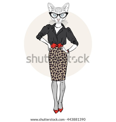 cat lady woman in leopard skirt