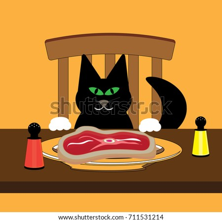 Cat looking at raw meat