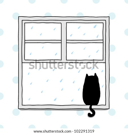 Cat looking out of a window at the rain