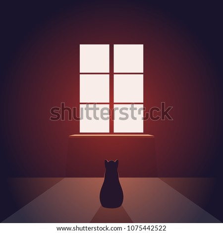 Cat looks out the window. Empty evening or night room with light from the window on the floor. Pet miss. Concept vector illustration