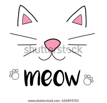Cat meow vector illustration drawing with writing, black outlines of cat's head, cat snout with ears, whiskers and paws Stock photo ©