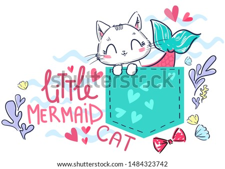 cat mermaid in the pocket