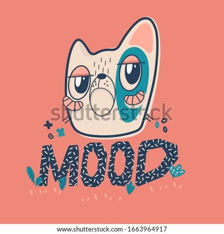 cat mood memes  vector cute