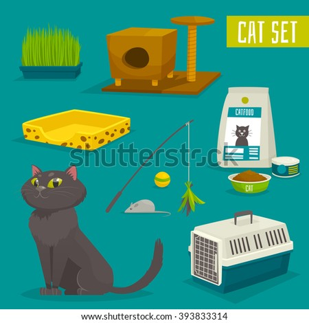 cat object set  items and stuff
