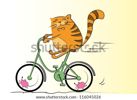 Cat on a bicycle, vector illustration