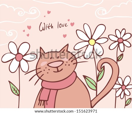 cat on a floral background