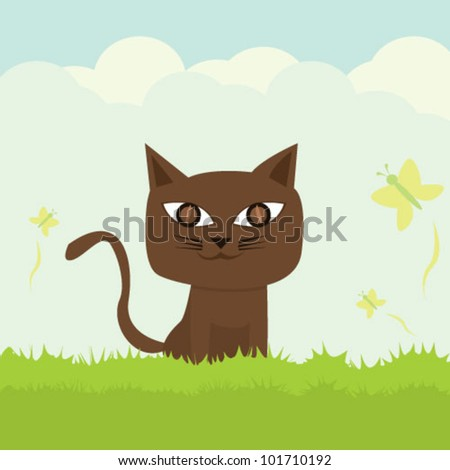 cat on the grass illustration vector