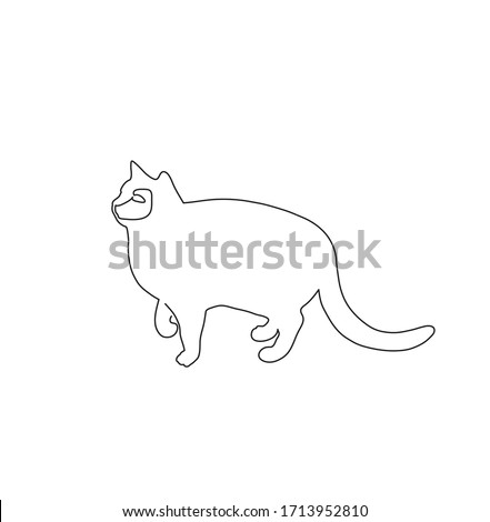 Cat. One Line Drawing. Minimalist Style. Vector Illustration.