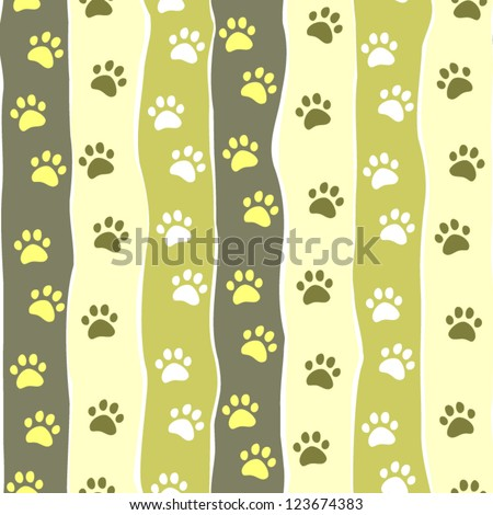 cat or dog paw striped seamless