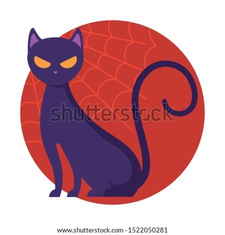 cat or feline animal of halloween vector illustration