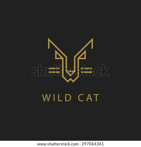 cat outline logo simple vector