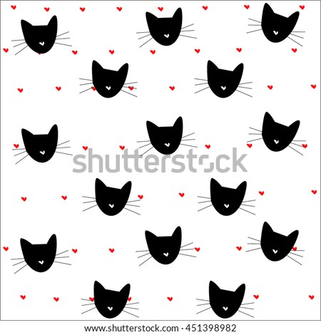 cat pattern hearts pattern