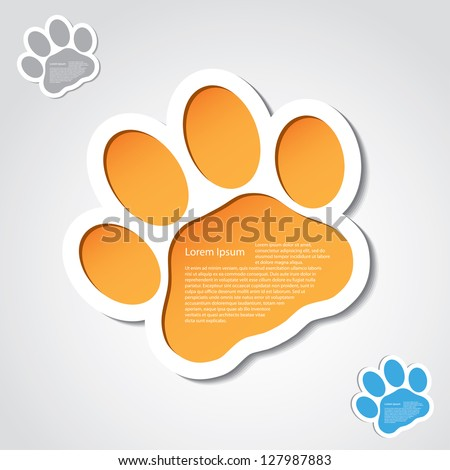 Cat paw banner - vector illustration