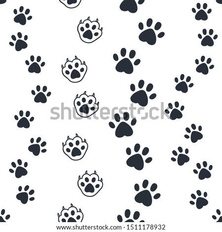 Cat paw pattern. Seamless dog foot print, wild animal and pat sunny paws silhouettes for background. Vector image out foots kitten and puppy cute wallpaper