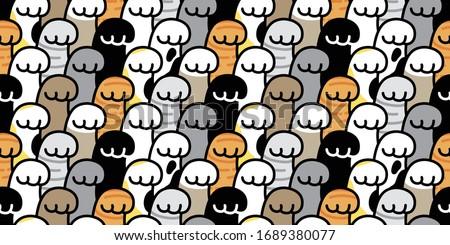 cat paw seamless pattern kitten illustration footprint cartoon
