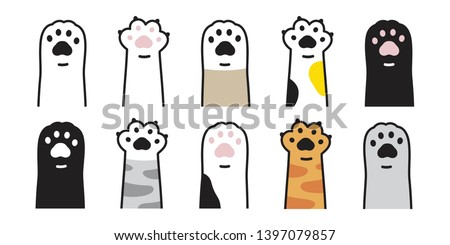 cat paw vector icon calico kitten footprint logo character cartoon ginger doodle illustration sign