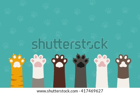 Shutterstock cat paws wallpaper, cat background, kitten flat design, cat prints, cartoon