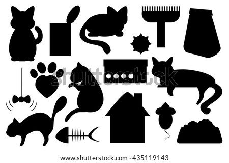 Cat pet vector illustration, cat food, cat toy, cat paw mark and house black on white clip art, domestic cat care and feed images, playing with cat, cat pictogram for veterinarian clinic or adoption