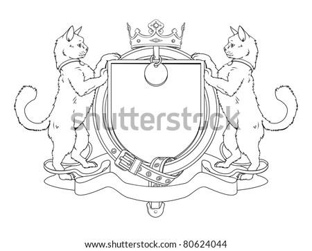 Cat pets heraldic shield coat of arms. Notice the collar instead of garter.