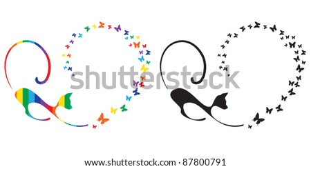 Cat plays with butterflies - stock vector