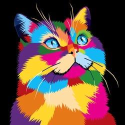Cat Pop Art, WPAP design, Pop Art Style from Indonesia