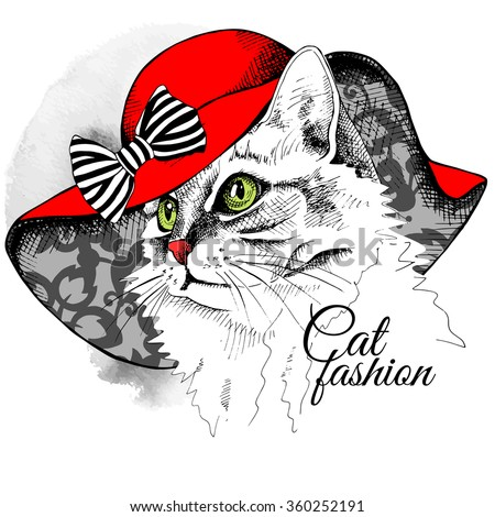 Cat portrait in a red summer hat with bow. Vector illustration.