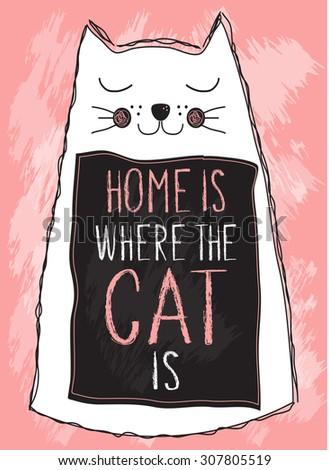 cat poster  t shirt motif