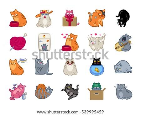 cat power vector icon set