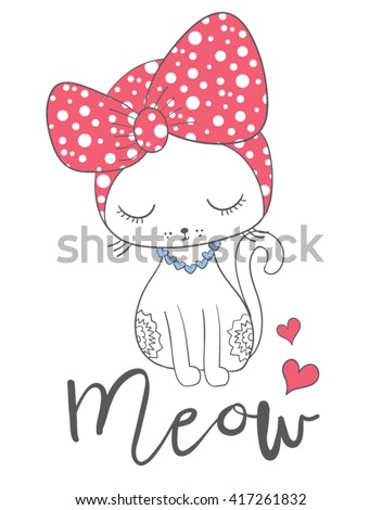 Cat print,T-shirt Print,i love you,Valentine\'s Day,animal print,For apparel or other uses,in vector.Children illustration for School books and more/cartoon character/animal lover