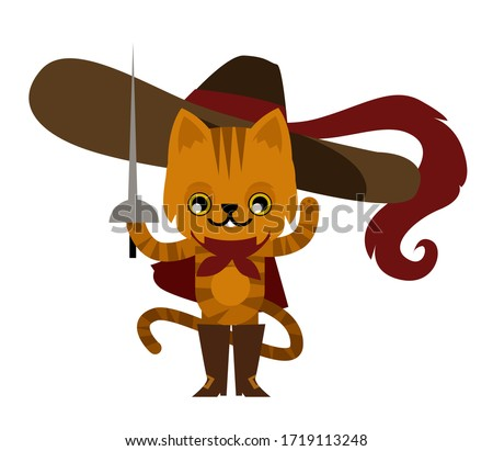 cat puss with boots and hat