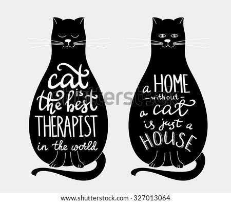 cat quotes calligraphy