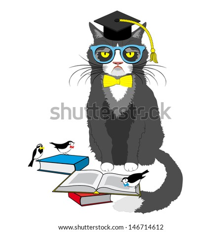 cat reading book in square academic cap vector illustration
