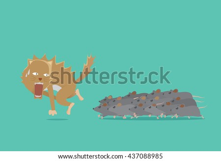 cat run away from rat battalion